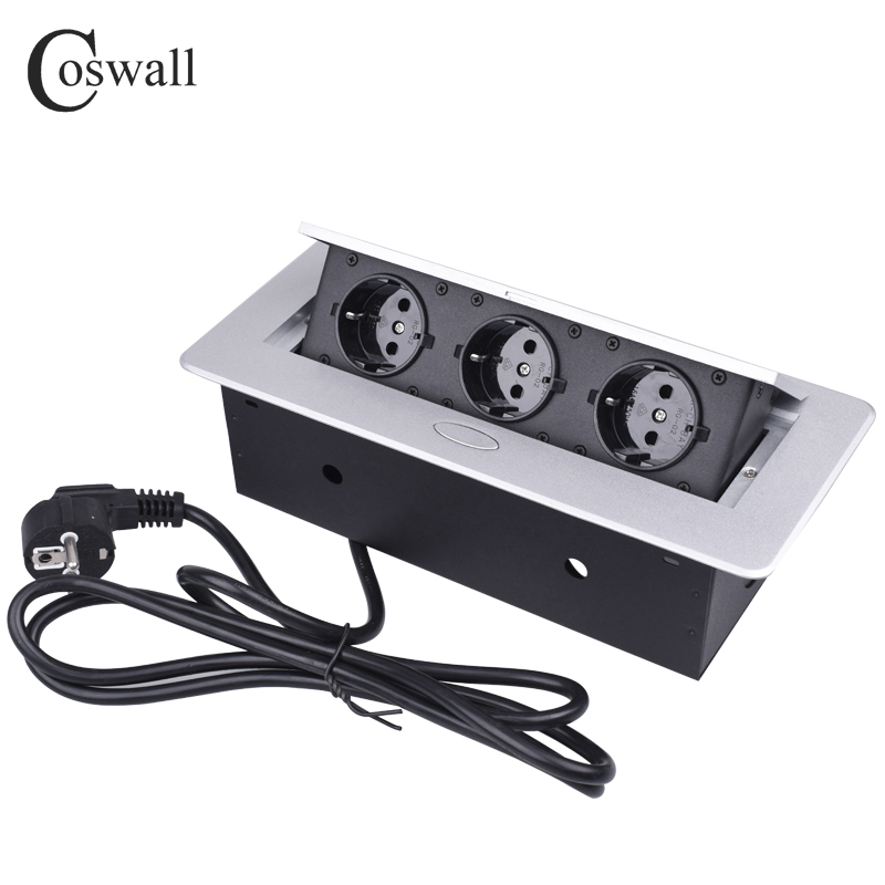 COSWALL Zinc Alloy Plate Slow Soundless POP UP Hidden 3 Power EU Socket Office Table Outlet Grounded With 1.3M Extension Plug