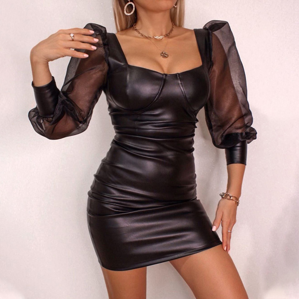 Vintage PU Leather Dress Women Puff Sleeve Sexy Dress Transparent Mesh Party Dress Slim Mini Black Dress Club Bodycon vestidos