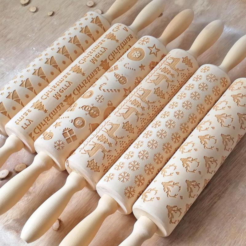 Wooden Christmas Embossing Rolling Pin Dough Rolling Pin Baking Pastry Tool Home Kitchen Gadgets