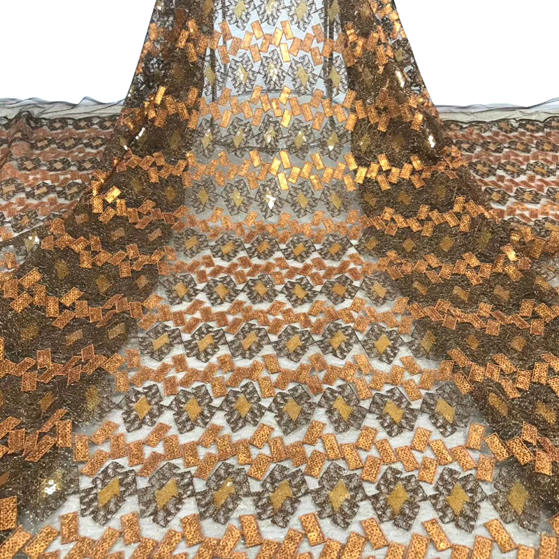 2020 African Lace Fabric Fashion Gold Pattern Embroidered With Sequins High Quality Tulle Lace For African Noble Women Dress