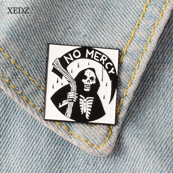 XEDZ New style black cloak and sickle ghost enamel brooch fashionable no murder Halloween costume pendant jewelry gift image