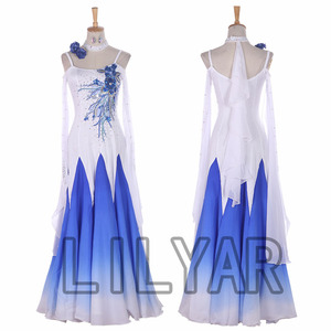Ballroom Dance Dress Standard Skirt Competition Dress Costumes Performing Dress Customize New Arrival Children Blue Spangle 123