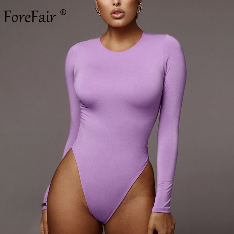 Forefair Solid Sexy Bodysuit Women Winter 2019 Female Cotton Basic O Neck Slim White Purple Long Sleeve Bodysuit