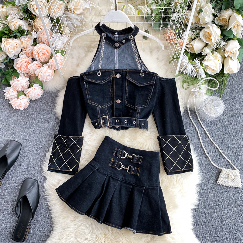 DEAT 2020 Summer Vintage Long Sleeve Strapless Chain Halter Hollow Out Denim Top Short Mini Skirt Two Piece Set Women MJ085(China)