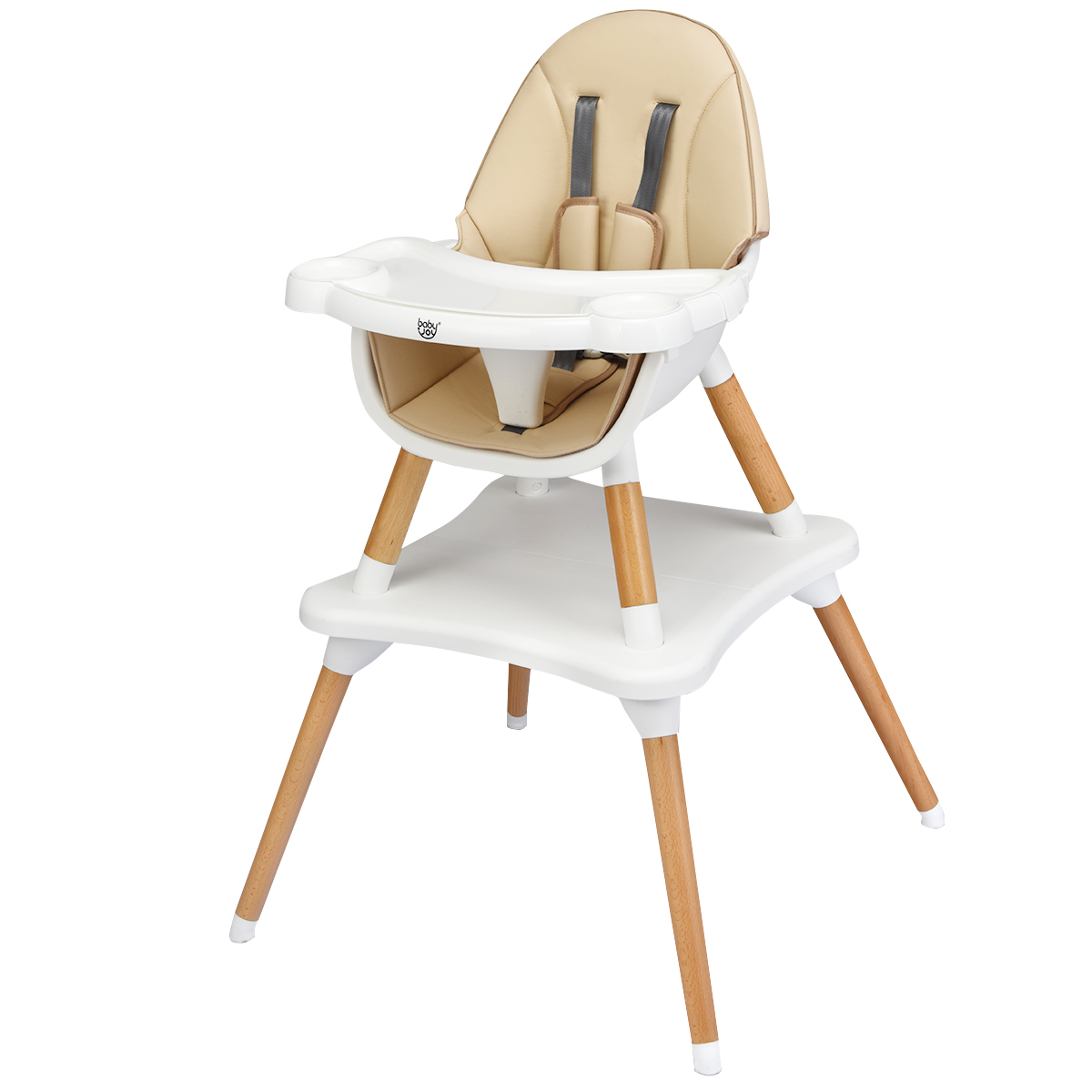 4-in-1 Baby High Chair Infant Wooden Convertible Chair W/5-Point Seat Belt Khaki