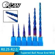 XCAN R0.25-R2.0 Nano с голубым покрытием 2 Флейта Карбид Концевая фреза ЧПУ конический шаровой нос фреза Деревообработка Гравировка Бит