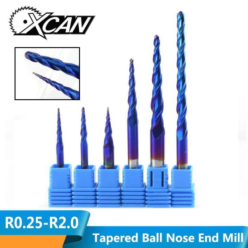 XCAN Ball Nose Tapered End Mills R0.25-R2.0 Solid Carbide CNC Router Bites HRC65 Nano Blue Coating Metal Wood Engraving Bit