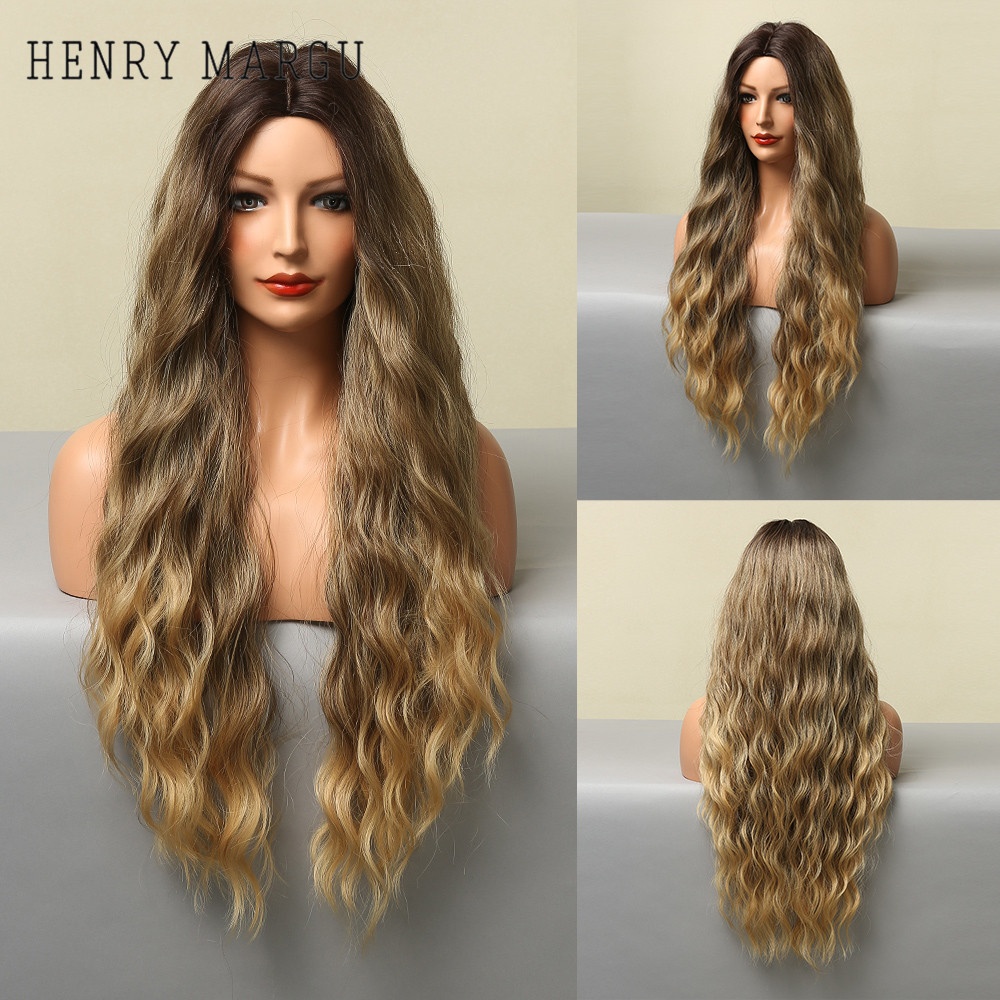 HENRY MARGU Ombre Brown Blonde Synthetic Wigs for Black Women Long Water Wave Cosplay Wig Cosplay Party High Temperature Fiber