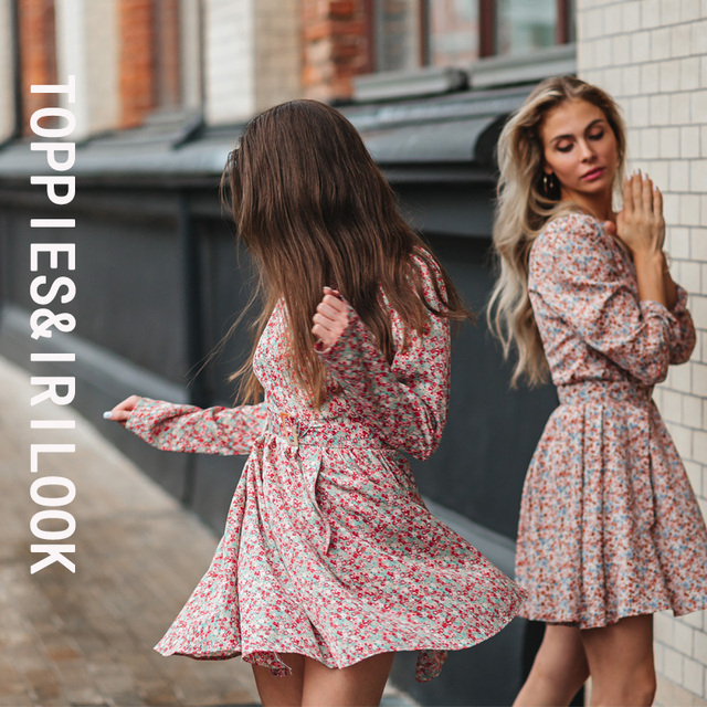 Toppies 2021 Mini Dress Print O Neck Long Sleeve Belt Sweet Crushed Floral Dress Casual Women Colorful Holiday Dress 2