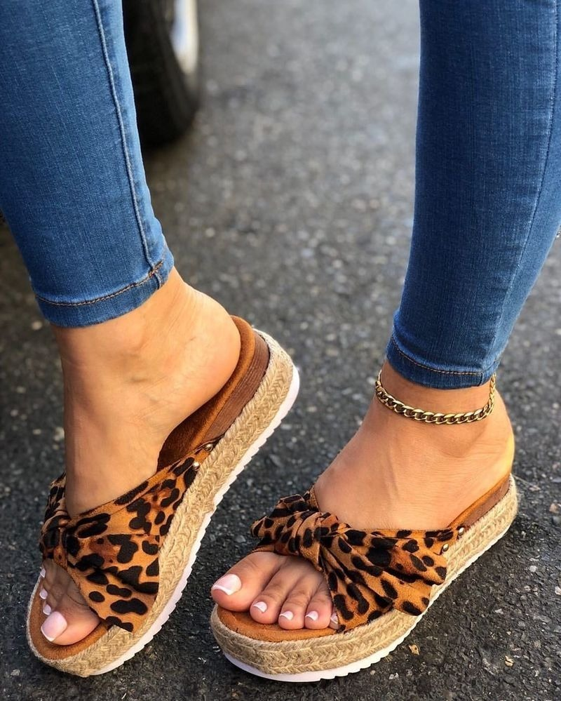 Women Summer Sandals Mid Heels Pumps Plus Size Wedges Shoes Woman Sweet Bowties Slippers Sandalias Mujer Sapato Feminino D263