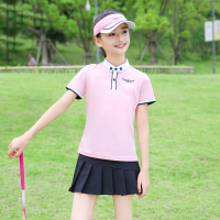 Golf Children Clothes Girls T Shirt Golf Apparel Youth Uniform Team Sports Suit Short Sleeve Tshirt Pleated Skirt Summer