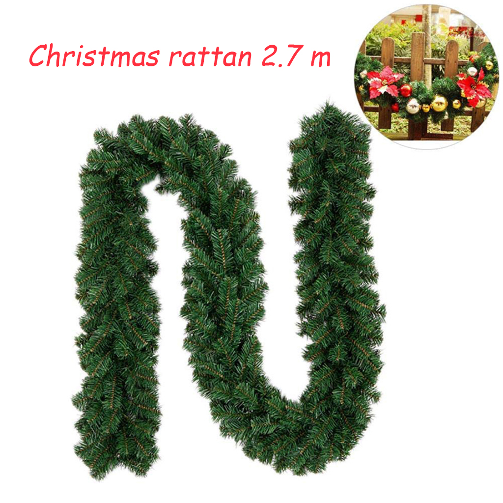 Christmas Artificial Garland Wreath Green Xmas Home Party Christmas Decor Rattan Hanging Ornament For Kids 1.7m/1.8m/2.7m