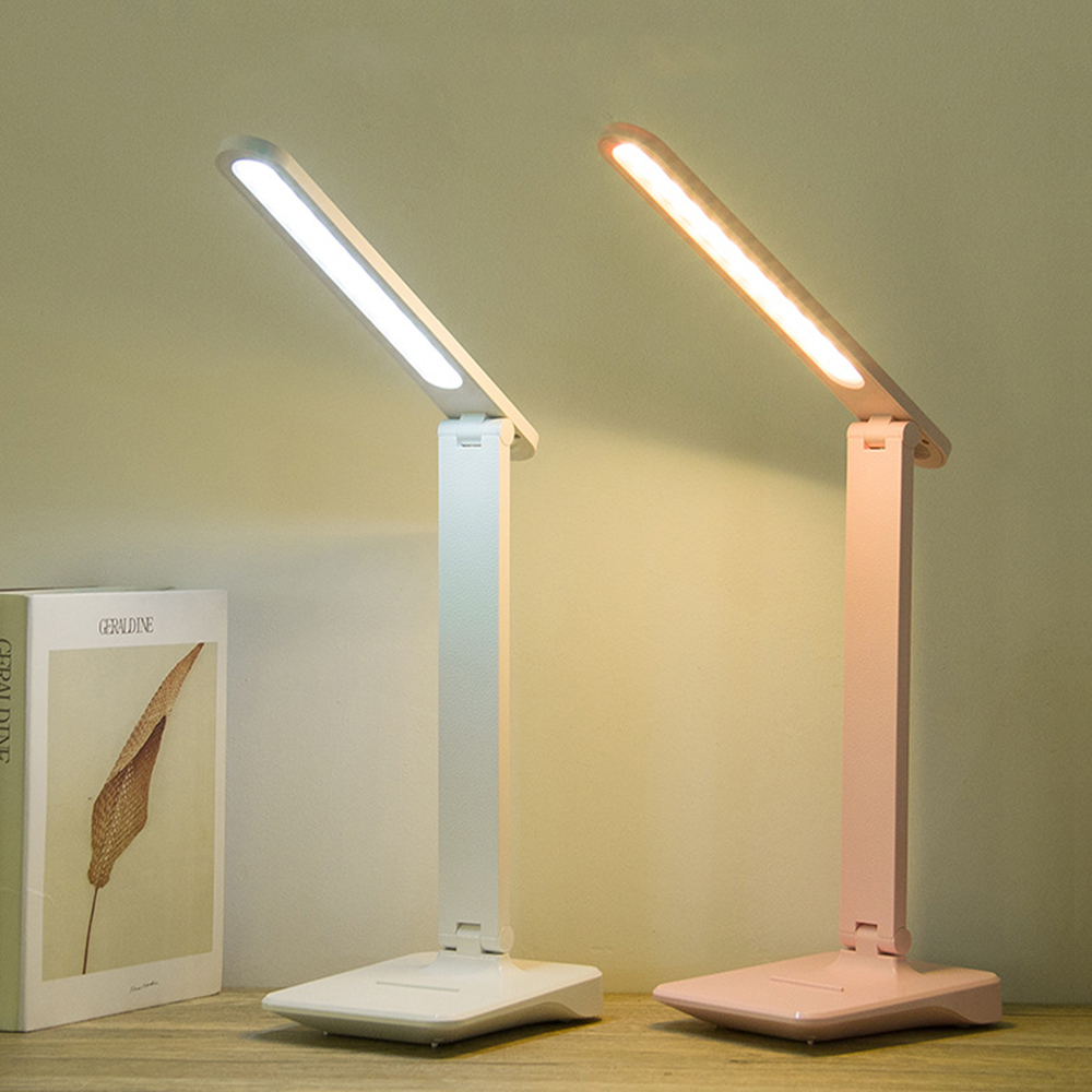 Sensor Touching LED Table Lamp Brightness Control Adjustable USB Rechargeable Reading Eye-Protect Light White/Pink