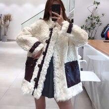 Las mujeres abrigo de invierno Natural piel auténtica de oveja Chaqueta estilo Regular genuino bolsillos de cuero grueso cálido manga larga + FN0061