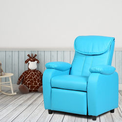 Costway Kid Fauteuil Sofa Armsteun Stoel Couch Kinderen Woonkamer Meubels Thuis Blauw