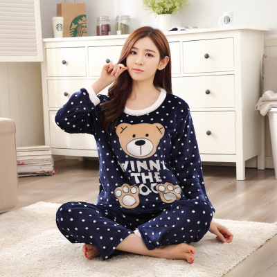 [Htc Sheng] Autumn And Winter Flannel Blue Little Bear Long Sleeve Pajamas Women's Dotted Bear M -Xxl