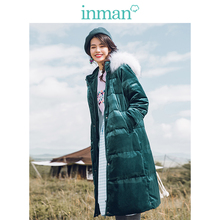 Down-Coat INMAN Hooded Collar Female Long Women Winter Warm Fur Loose-Style Wind-Proof