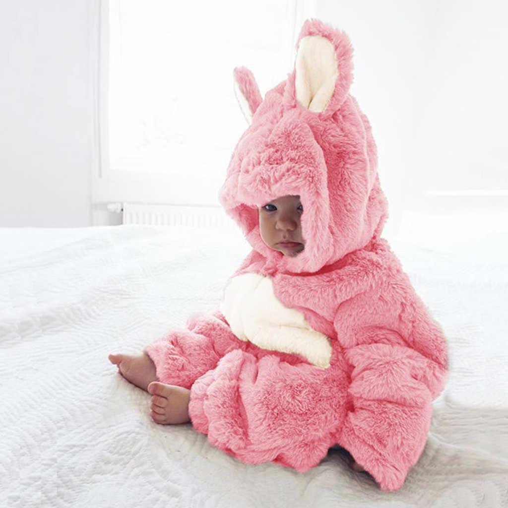 חדש נולד תינוק בגדי ילד ארוך שרוול צמר אוזני ארנב סלעית Romper עבה פעוט בנות מזדמנים כותנה בית פיג 'מה סרבל תינוקות