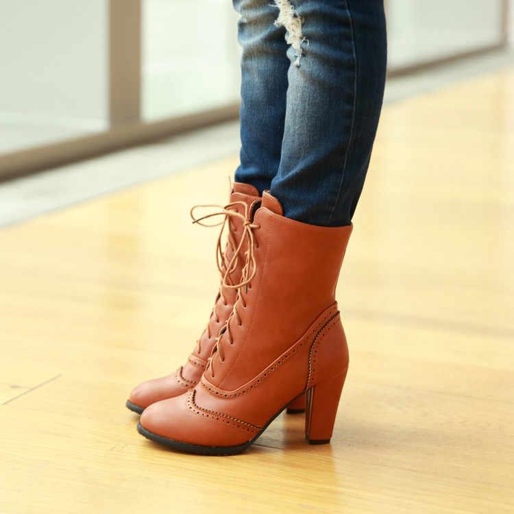 Çizmeler kadın yüksek topuk kısa çizmeler orta buzağı sonbahar çizmeler sivri burun bayanlar ayakkabı Lace Up Casual Botas Mujer ghn89