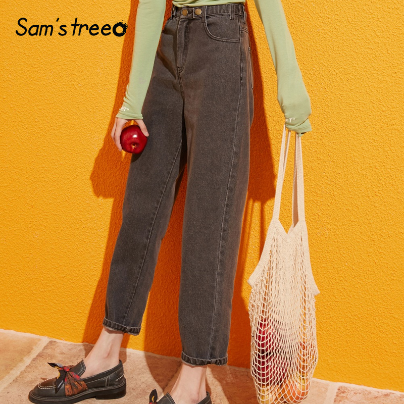 Samstree Blue Solid Pocket Side High Waist Retro Leisure Jeans Women 2019 Autumn Green Black Straight Korean Female Denim Pants