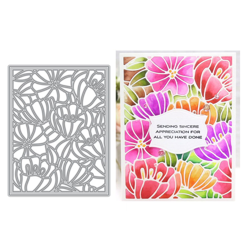 Multi Layered Floral Frame Metal Cutting Dies Scrapbooking Album Card Decor DIY