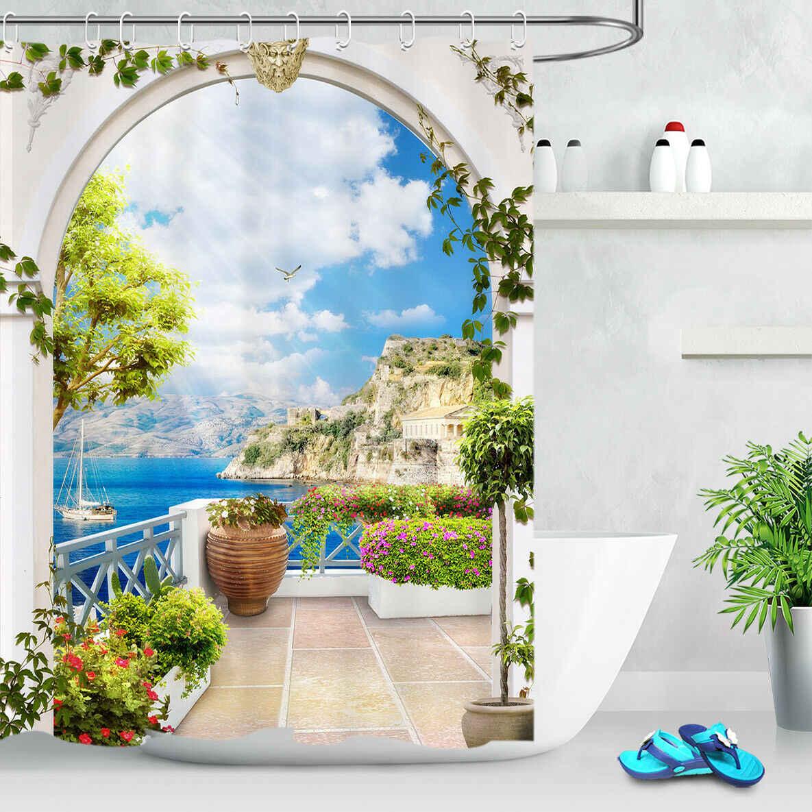 greek flower balcony ocean shower
