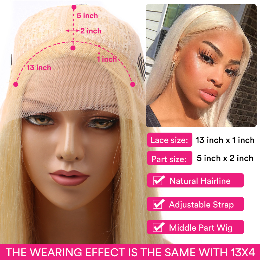 613 Honey Blonde Color   Straight 13*1 Middle Part Lace Front  Wig 8 - 28 Inch 150% Density Women's Wigs 1