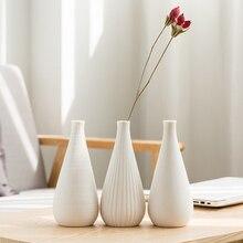 Height White Ceramic Flower Vase Home Table Decor Flower Pot Arrangement Garden Desk Ornament Creative Mini Vase