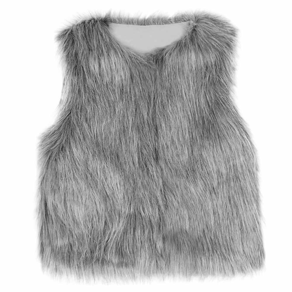 Yürüyor çocuk bebek kız kış sıcak giysiler Faux kürk yelek kalın ceket dış giyim yelek kız çocuklar için yelek erkekler için yelek kız