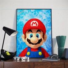 Dibujos Animados Super Mario acuarela vintage art deco HD calidad vivero cuadro para habitación de niños carteles de vida lienzo pintura K757