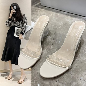 2021 Womens Slippers Outdoor Heeled Mules Transparent  Jelly Slides Rubber Flip Flops Pantofle Fashion Square Heel Heels