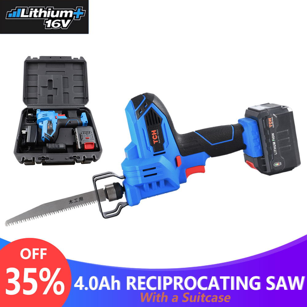 16V Portable Reciprocating Saw Kit Saber Saw with 4.0Ah Lithium Battery Cordless Powerful Wood/Metal Cutting Saw with Suitcase-in Electric Saws from Tools    1