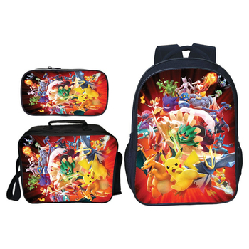 3PCS/Set Mochila pokemon Pikachu Pouch 3D Printing Casual School Bags For Teenage Girls Bookbag