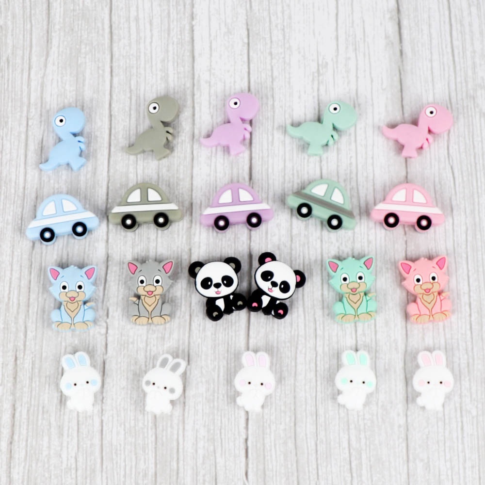 5pcs Cartoon Silicone Beads Koala Cat  Baby Teething Chews Nurse Gift Toys For DIY Necklace Chain Food Grade Baby Teether Beads