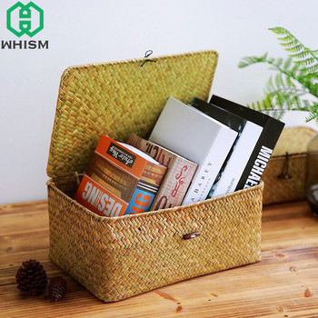 WHISM Handmade Woven Storage Box with Lid Rattan Storage Basket Jewelry Box Food Container Makeup