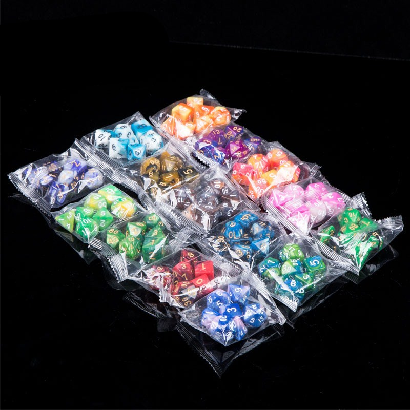 7pcs/lot Resin Multifaceted Dice D&d D4 D6 D8 D10 D% D12 D20 Polyhedral TRPG Games Dice Set Board Game Dice