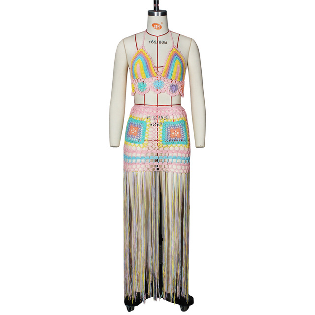 ANJAMANOR Sexy Crochet Tassel Two Piece Skirt Set Beach Dress Suit Summer Outfit Womens 2021 2 Piece Matching Sets D48-EB26 6