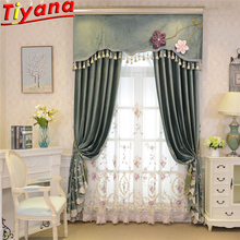Pink Flower Embroidered Tulle for Living Room Green Panels Blackout Curtains  Luxury Villa WP424#40