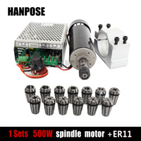 0.5kw Air cooled spindle motor ER11 chuck 500W Spindle dc Motor+52mm clamps+Power Supply +full ER11 chuck for cnc