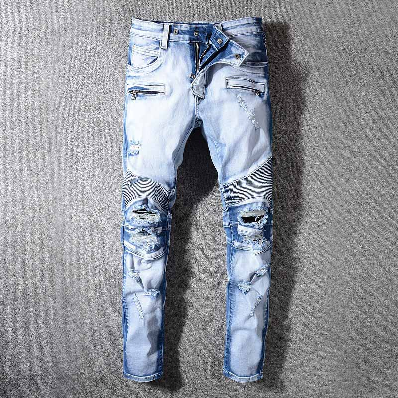 Mcikkny Men`s High Street Ripped Denim Trousers Washed Destroyed Distressed Jeans Pants For Male Size 29-42 Straight (5)