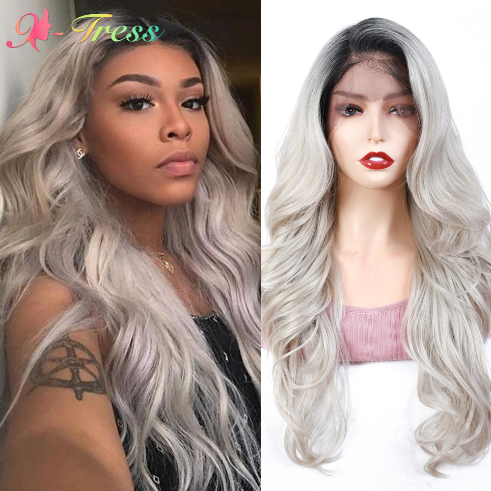 X-TRESS Grey Wig Ombre Synthetic Lace Front Wigs for Black Women Heat Resistant Lace Wig Long Loose Wavy Women's Cosplay Wigs