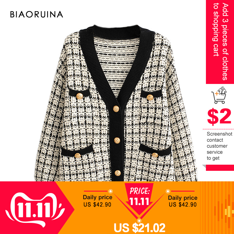 BIAORUINA Women's Fashion V-neck Chic Single Breasted Knit Cardigans Female Thick Keep Warm Swallow Gird Plaid Sweater Outerwear