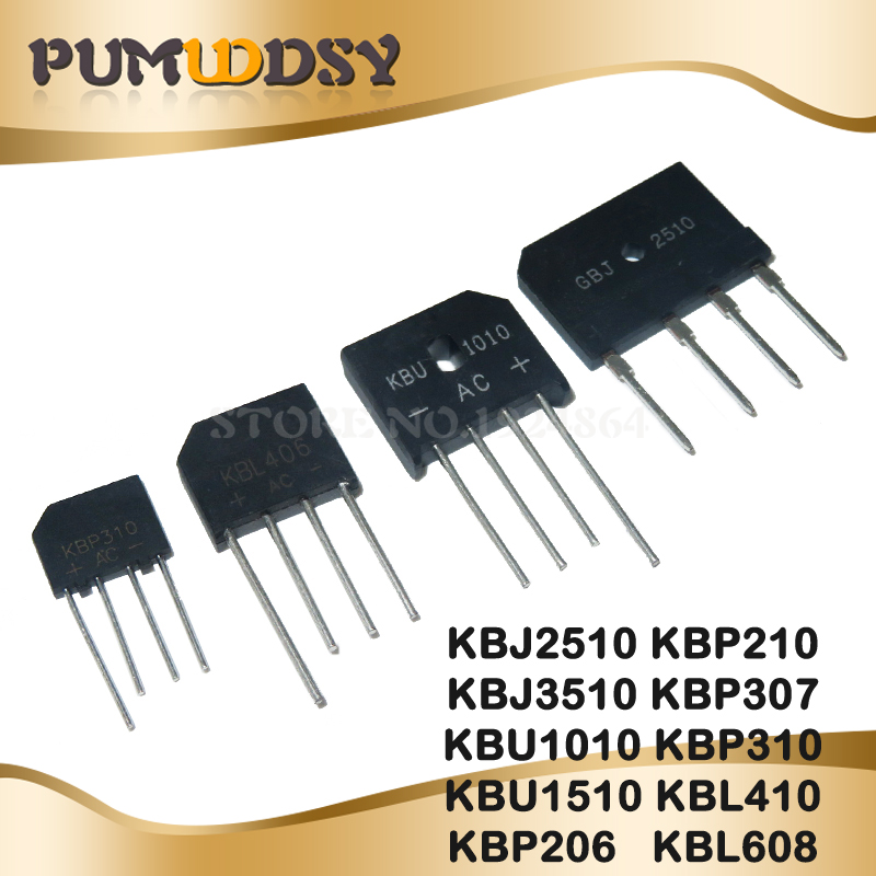 10PCS GBJ2510 GBJ3510 KBU1010 KBU1510 KBP206 KBP210 KBP307 KBP310 KBL410 KBL608 ZIP4 1000V BRIDGE RECTIFIER New And Original IC