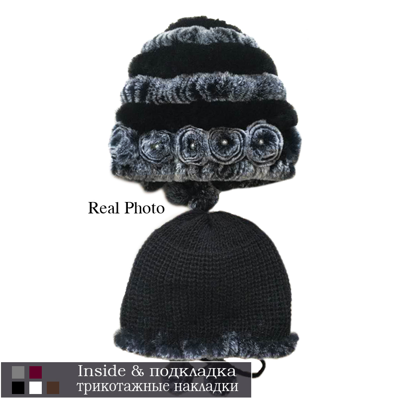 women's hat winter warm rabbit fur hats with pearls fashion striped unique design natural fur bomber hats female ball caps 5