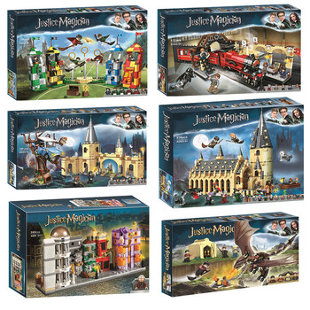 NEW Magic Castle Animals City Classic Harried Movie Express Train Potter Building Blocks Bricks DIY Creator for toys image