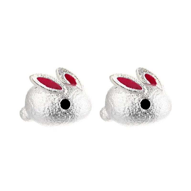 2020 Women's Earring Cute Small Animal Pink Rabbit Studs Tibetan Silver Bunny Studs Orecchini Brincos Kids Girls Christmas Gifts