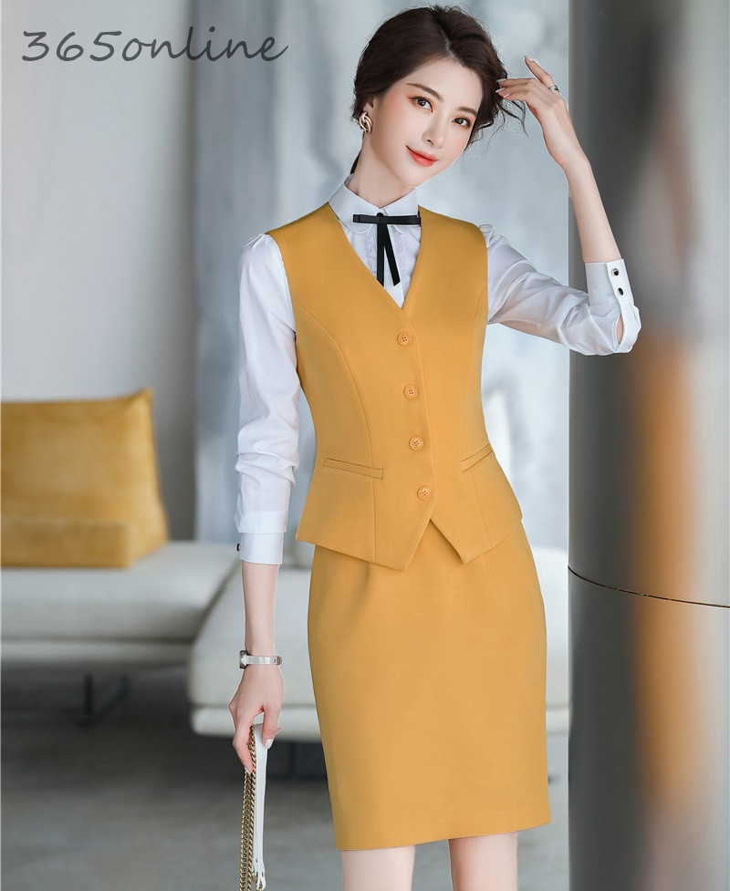 Elegant Yellow Spring Summer OL Styles Professional Women Business Suits With 2 Piece Sets Tops And Skirt Vest & Waistcoat Suits
