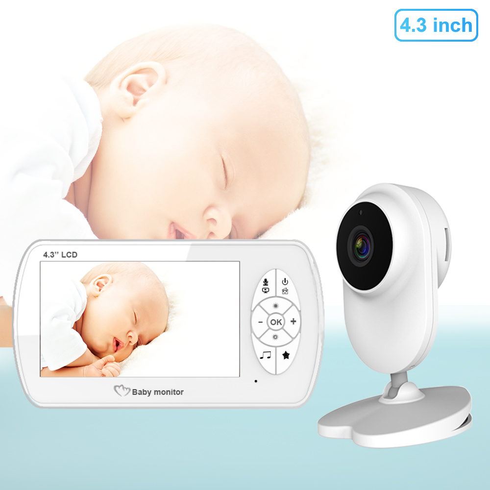 4.3 Inch Wireless Video Baby Monitor 1080P Long Transmission Distance With Clamp Security HD Night Vision Baby Cry Alarm Nanny
