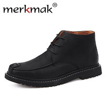 Merkmak Vintage Men's Ankle Boots Autumn Winter Men Shoes Casual Male Leather Shoes Comfortable Man Boots Flat Big Size 38-47(China)