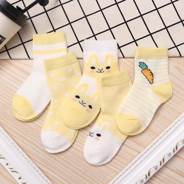 5Pairs/lot 0-9Y Kids Socks Summer Cotton Cartoon Animal Kids Socks Carrot Girls Mesh Cute Newborn Boy Toddler Children Socks 6